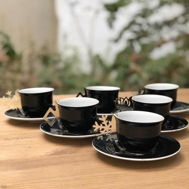 İpek Platin Kulplu Porselen Siyah 6'lı Kahve Fincan Takımı Siyah